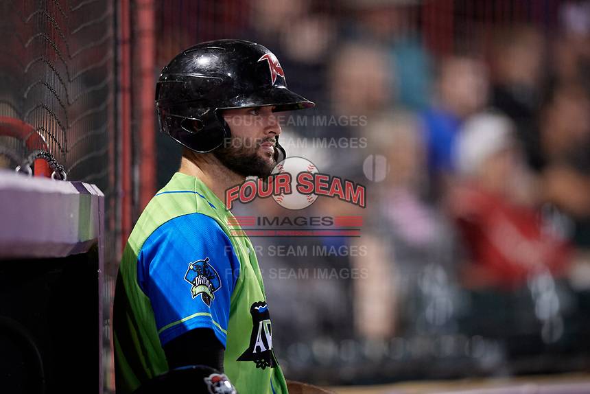 Las Ardillas Voladoras de Richmond Matt Winn (15) on deck during an Eastern League game against the Erie Piñatas on August 28, 2019 at UPMC Park in Erie, Pennsylvania.  Richmond defeated Erie 4-3 in the second game of a doubleheader.  (Mike Janes/Four Seam Images)