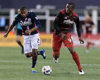Foxborough, Massachusetts - April 27, 2016: First half action. In a Major League Soccer (MLS) match, the New England Revolution (blue/white) vs Portland Timbers (blue/red), 0-0 (halftime), at Gillette Stadium.