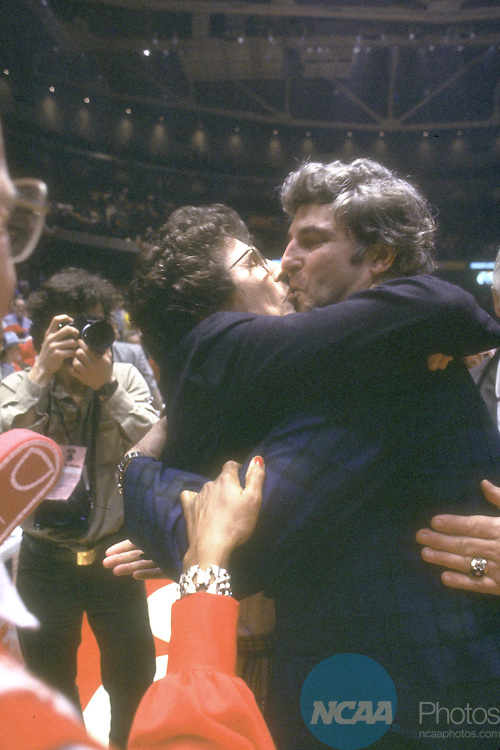 30 MAR 1981:  Indiana coach Bob Knight gets a kiss from an unidentified woman after the NCAA Men's National Basketball Final Four championship game against North Carolina held in Philadelphia, PA, at The Spectrum. Indiana defeated North Carolina 63-50 for the title. Thomas was named MVP for the tournament. Photo by Rich Clarkson/NCAA PhotosSI CD1646-53
