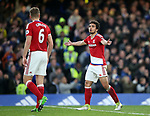 Middlesbrough's Fabio argues with Ben Gibson after Chelsea's second goal during the Premier League match at Stamford Bridge Stadium, London. Picture date: May 8th, 2017. Pic credit should read: David Klein/Sportimage