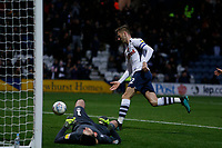 9th November 2019; Deepdale Stadium, Preston, Lancashire, England; Championship Football, Preston North End versus Huddersfield Town; Paul Gallagher of Preston North End scores his side's third goal from the penalty spot after 50 minutes to make the score 3-0 - Strictly Editorial Use Only. No use with unauthorized audio, video, data, fixture lists, club/league logos or 'live' services. Online in-match use limited to 120 images, no video emulation. No use in betting, games or single club/league/player publications