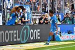 07.10.2018, wirsol Rhein-Neckar-Arena, Sinsheim, GER, 1 FBL, TSG 1899 Hoffenheim vs Eintracht Frankfurt, <br /> <br /> DFL REGULATIONS PROHIBIT ANY USE OF PHOTOGRAPHS AS IMAGE SEQUENCES AND/OR QUASI-VIDEO.<br /> <br /> im Bild: Reiss Nelson (TSG Hoffenheim #9) jubelt ueber sein Tor zum 1:2<br /> <br /> Foto &copy; nordphoto / Fabisch