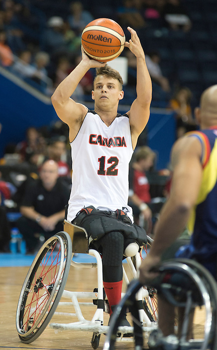 TORONTO, ON, AUGUST 8, 2015. Wheelchair Basketball - CAN 102-27VEN in men's action - Nikola Goncin.<br /> Photo: Dan Galbraith/Canadian Paralympic Committee