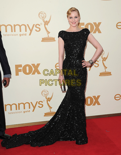 Evan Rachel Wood (wearing Elie Saab).The 63rd Annual Primetime Emmy.Awards held at Nokia Theatre L.A. Live in Los Angeles, California, USA..September  18th, 2011.emmys full length black dress hand on hip sparkly .CAP/RKE/DVS.©DVS/RockinExposures/Capital Pictures.