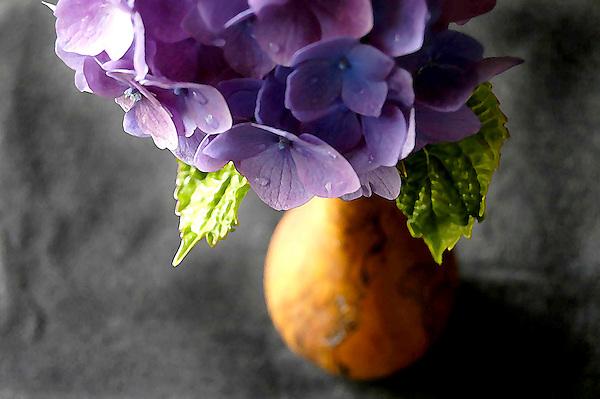 Hydrangea In A Wood Vase