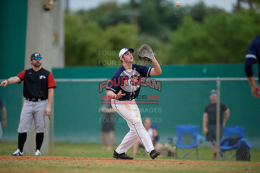 Bethel Wildcats first baseman Mitchell Jerde (38) during the second game of a double header against the Edgewood Eagles on March 15, 2019 at Terry Park in Fort Myers, Florida.  Bethel defeated Edgewood 3-2.  (Mike Janes/Four Seam Images)