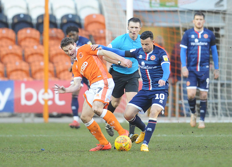 Blackpool's Matthew Virtue vies for possession with Walsall's Zeli Ismail<br /> <br /> Photographer Kevin Barnes/CameraSport<br /> <br /> The EFL Sky Bet League One - Blackpool v Walsall - Saturday 9th February 2019 - Bloomfield Road - Blackpool<br /> <br /> World Copyright © 2019 CameraSport. All rights reserved. 43 Linden Ave. Countesthorpe. Leicester. England. LE8 5PG - Tel: +44 (0) 116 277 4147 - admin@camerasport.com - www.camerasport.com