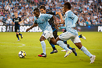 Kansas City, KS - Wednesday August 9, 2017: Jimmy Medranda, Andres Imperiale during a Lamar Hunt U.S. Open Cup Semifinal match between Sporting Kansas City and the San Jose Earthquakes at Children's Mercy Park.