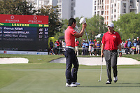Liang Wenchong (CHN) and Thomas Aiken (RSA) on the 18th during Round 4 of the 2013 Avantha Masters, Jaypee Greens Golf Club, Greater Noida, Delhi, 17/3/13..(Photo Jenny Matthews/www.golffile.ie)