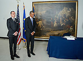 "United States President Barack Obama, right and Ambassador Gerard Araud of France, left, stand for a moment of silence at the Embassy of France in Washington, D.C. on Thursday, January 8, 2014 after the President signed a book of condolence to honor those killed in the terrorist attack on the offices of Charlie Hebdo magazine in Paris, France yesterday.  The President's inscription reads ""On behalf of all Americans, I extend our deepest sympathy and solidarity to the people of France following the terrible terrorist attack in Paris.  As allies across the centuries, we stand united with our French brothers to ensure that justice is done and our way of life is defended.  We go forward together knowing that terror is no match for freedom and ideals we stand for - ideals that light the world.<br /> Vive la France!""<br /> Credit: Ron Sachs / Pool via CNP"