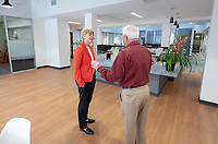 Occidental College Athletic Director Shanda Ness meets Bill Parrott '62 in the newly remodeled Athletic Dept. offices on March 13, 2019.<br /> (Photo by Marc Campos, Occidental College Photographer)