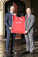 (L-R) Ryan Giggs and Jonathan Ford, hold a Wales shirt during the Wales Unveiling  Of The New Manager at Hensol Castle, Vale of Glamorgan, Wales, UK. Monday 15 January 2018