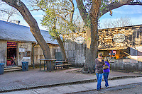 When you come to visit Luckenbach there is food and drinks you can get at the Feed Lot and then for your dancing pleasure please there is the Dance Hall next door.  This place draws a lot of tourist and many a local.  Its a great place to kick back and listen to some mostly country music even though every now and then they offer up something a little different like some blues