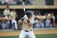 Chris Lanzilli (24) of the Wake Forest Demon Deacons at bat against the Miami Hurricanes at David F. Couch Ballpark on May 11, 2019 in  Winston-Salem, North Carolina. The Hurricanes defeated the Demon Deacons 8-4. (Brian Westerholt/Four Seam Images)