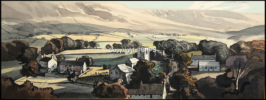 BNPS.co.uk (01202 558833)<br /> Pic: TomWren/BNPS<br /> <br /> The Yorkshire Dales by Rowland Hilder.<br /> <br /> A collection of vintage posters used to promote Britain's railways during the golden age of steam have gone on sale for a whopping &pound;20,000 after being saved from the skip.<br /> <br /> Quick-thinking railway worker Albert Cook heard the 130 carriage panel prints from the 1930s including 12 original artworks were to be thrown away at London's Liverpool Street Station, so he asked permission to take them home.<br /> <br /> The art deco-style posters advertised popular destinations such as Northumberland's Whitley Bay, Woodhall Spa in Lincs and Dovercourt Bay in Essex as railway tourism opened up Britain to the masses.<br /> <br /> The archive will be sold by Onslows auctioneers in Blandford, Dorset, on July 14.