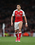 Arsenal's Alexis Sanchez shows off his thigh during the Premier League match at the Emirates Stadium, London. Picture date: May 16th, 2017. Pic credit should read: David Klein/Sportimage
