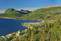 Village of Woody Point from high vantage point and Bonne Bay<br />Gros Morne National Park<br />Newfoundland & Labrador<br />Canada