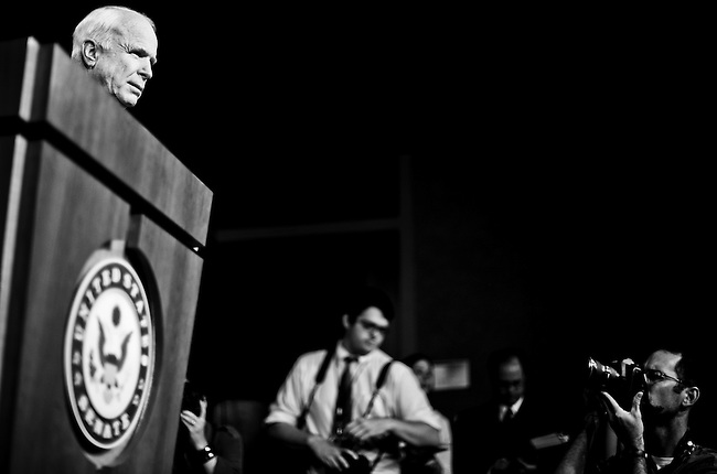 Sen. John McCain, R-Ariz., holds a news conference on the economic stimulus oversight report on Aug. 3, 2010.