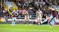 Burnley's Ashley Barnes scores his side's third goal from the penalty spot<br /> <br /> Photographer Alex Dodd/CameraSport<br /> <br /> UEFA Europa League - Europa League Qualifying Round 2 2nd Leg - Burnley v Aberdeen - Thursday 2nd August 2018 - Turf Moor - Burnley<br />  <br /> World Copyright © 2018 CameraSport. All rights reserved. 43 Linden Ave. Countesthorpe. Leicester. England. LE8 5PG - Tel: +44 (0) 116 277 4147 - admin@camerasport.com - www.camerasport.com