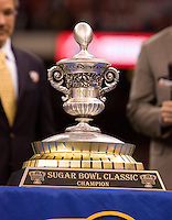 Sugar Bowl 2011 Trophy during 77th Annual Allstate Sugar Bowl Classic at Louisiana Superdome in New Orleans, Louisiana on January 4th, 2011.  Ohio State defeated Arkansas, 31-26.