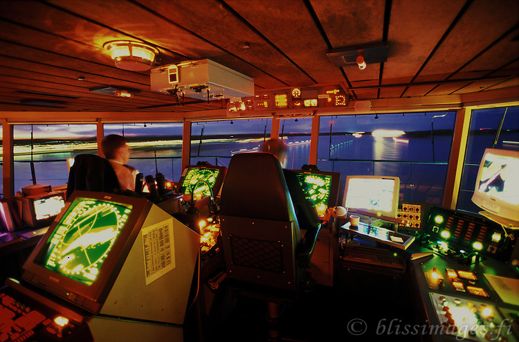 Pilots on Silja Festival's bridge at night.