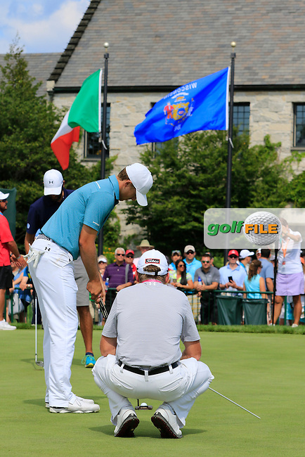 Jordan Spieth (USA) and coach Cameron McCormick work together on the practice green during Tuesday's Practice Day of the 97th US PGA Championship 2015 held at Whistling Straits, Mosel, Kohler, Wisconsin, United States of America. 11/08/2015.<br /> Picture Eoin Clarke, www.golffile.ie
