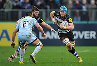 David Denton of Bath Rugby goes on the attack. Aviva Premiership match, between Bath Rugby and Worcester Warriors on December 27, 2015 at the Recreation Ground in Bath, England. Photo by: Patrick Khachfe / Onside Images