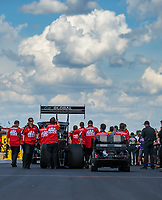 Sep 3, 2018; Clermont, IN, USA; Crew members for NHRA top fuel driver Doug Kalitta during the US Nationals at Lucas Oil Raceway. Mandatory Credit: Mark J. Rebilas-USA TODAY Sports