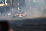 #11 Denny Hamlin  during NASCAR's Burnout Blvd. Driven By Goodyear