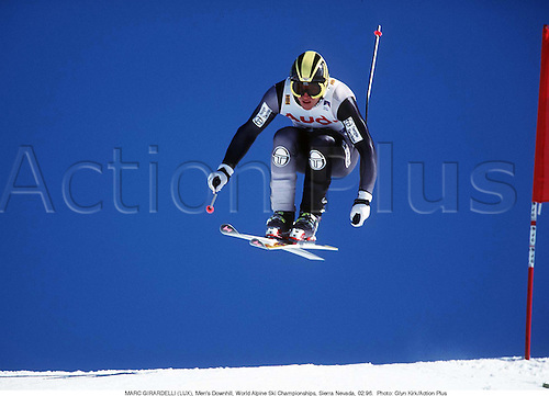 MARC GIRARDELLI (LUX), Men's Downhill, World Alpine Ski Championships, Sierra Nevada, Spain 9602.  Photo: Glyn Kirk/Action Plus...1996.skiing.winter sport.winter sports.wintersport.wintersports.ski.skier.man