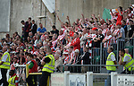 10 July 2014;  Derry City Fans during the game. UEFA Europa League First Qualifying Round, Second Leg, Aberystwyth Town v Derry City. Park Avenue, Aberystwth, Wales. Picture credit: Ian Cook / SPORTINGWALES