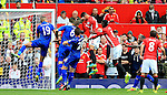 Chris Smalling of Manchester United scores his sides first goal during the Premier League match at Old Trafford Stadium, Manchester. Picture date: September 24th, 2016. Pic Sportimage