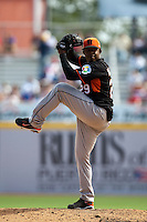 7 March 2009: #29 Dennis Neuman of the Netherlands pitches against the Dominican Republic during the 2009 World Baseball Classic Pool D match at Hiram Bithorn Stadium in San Juan, Puerto Rico. Netherlands pulled off a huge upset in their World Baseball Classic opener with a 3-2 victory over Dominican Republic.