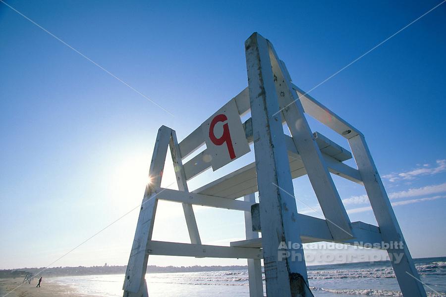 USA, Newport, RI - Number nine lifeguard chair at wide angle - first beach.