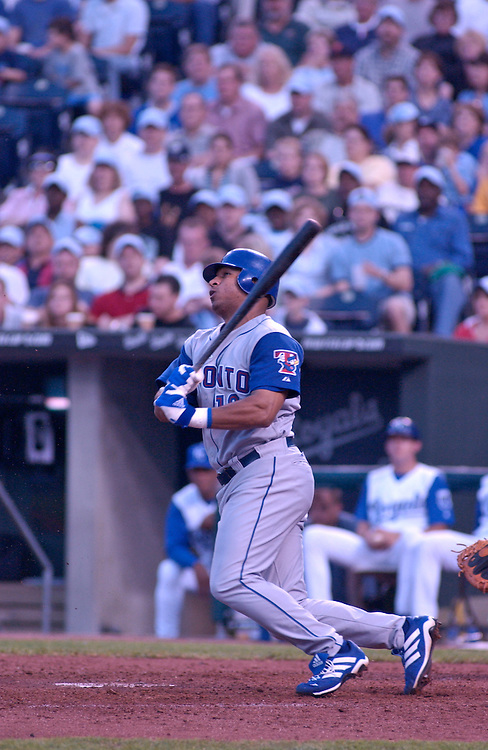 Toronto center fielder Vernon Wells singles to third in the eighth inning against the Royals at Kauffman Stadium in Kansas City, Mo., on May 17, 2003. The Blue Jays won 7-4.
