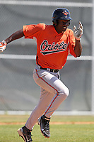 Baltimore Orioles minor league player Corey Thomas #55 during a spring training game vs the Boston Red Sox at the Buck O'Neil Complex in Sarasota, Florida;  March 22, 2011.  Photo By Mike Janes/Four Seam Images
