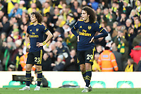 1st December 2019; Carrow Road, Norwich, Norfolk, England, English Premier League Football, Norwich versus Arsenal; A dejected David Luiz and Matteo Guendouzi of Arsenal as Todd Cantwell of Norwich City scores for 2-1 - Strictly Editorial Use Only. No use with unauthorized audio, video, data, fixture lists, club/league logos or 'live' services. Online in-match use limited to 120 images, no video emulation. No use in betting, games or single club/league/player publications