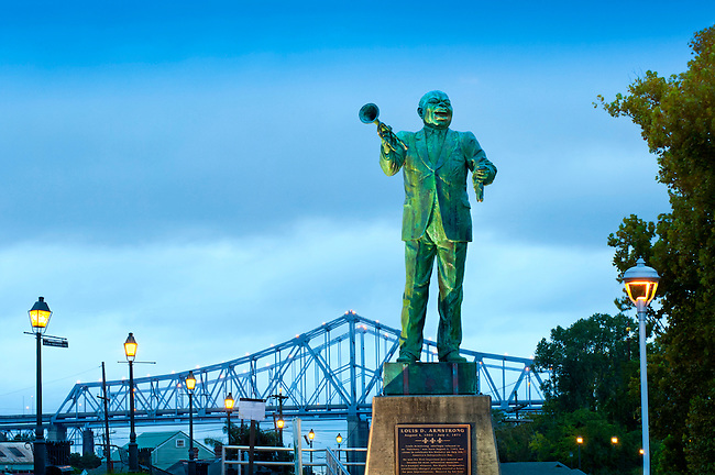 Statue of jazz great Louis Armstrong welcomes outdoor enthusiasts to enjoy the Jazz Walk of Fame on the west side of the Mississippi River in the neighborhood of Algiers.