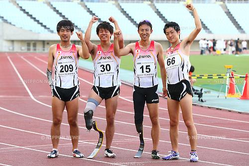 (L-R)<br /> Tomoki Tagawa,<br /> Keita Sato,<br /> Toru Suzuki,<br /> Hajimu Ashida,<br /> JULY 18, 2015 - Athletics :<br /> Japan Para Athletics Championships,<br /> Men's T42-T47 4x100mR Final<br /> at Yanmar Stadium Nagai, Osaka, Japan. <br /> (Photo by Shingo Ito/AFLO SPORT)