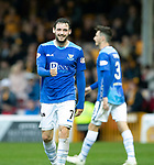 Motherwell v St Johnstone&hellip;20.10.18&hellip;   Fir Park    SPFL<br />A smile for Drey Wright after his shot is pushed around the post by Trevor Carson<br />Picture by Graeme Hart. <br />Copyright Perthshire Picture Agency<br />Tel: 01738 623350  Mobile: 07990 594431