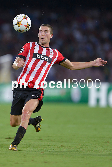 Oscar de Marcos of Athletic during the match between SSC Napoli and Athletic Club Bilbao, play-offs First leg Champions League at the San Paolo Stadium onTuesday August 19, 2014 in Napoli, Italy. (Photo by Marco Iorio)<br />