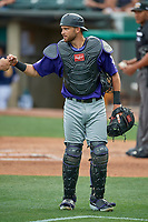 Drew Butera (16) of the Albuquerque Isotopes during the game against the Salt Lake Bees at Smith's Ballpark on July 25, 2019 in Salt Lake City, Utah. The Bees defeated the Isotopes 8-3. (Stephen Smith/Four Seam Images)