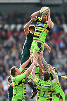 James Craig of Northampton Saints wins the ball at a lineout. Aviva Premiership match, between Leicester Tigers and Northampton Saints on April 14, 2018 at Welford Road in Leicester, England. Photo by: Patrick Khachfe / JMP
