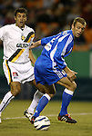 16 October 2004: Jovan Kirovski (left) and Jimmy Conrad (right) in the first half. The Kansas City Wizards defeated the Los Angeles Galaxy 1-0 at Arrowhead Stadium in Kansas City, MO in a regular season Major League Soccer game..