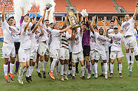 Houston, TX -  Sunday, December 11, 2016: The Stanford Cardinal celebrate winning the 2016 NCAA Division 1 Soccer Championship against the Wake Forest Demon Deacons  at the  NCAA Men's Soccer Finals at BBVA Compass Stadium.