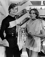 Logan's Run (1976) <br /> Behind the scenes photo of Michael York &amp; Jenny Agutter<br /> *Filmstill - Editorial Use Only*<br /> CAP/KFS<br /> Image supplied by Capital Pictures
