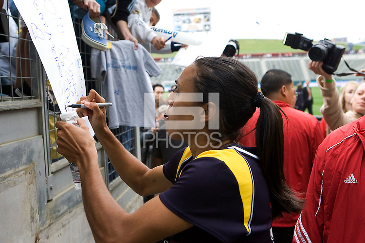 LA Sol marquee player Marta signs autographs after the game. The LA Sol defeated the Washington Freedom 2-0 in the opening game of Womens Professional Soccer at Home Depot Center stadium on Sunday March 29, 2009.  .