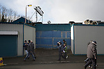 Greenock Morton 2 Stranraer 0, 21/02/2015. Cappielow Park, Greenock. Home supporters making their way towards an entrance to the stadium before Greenock Morton take on Stranraer in a Scottish League One match at Cappielow Park, Greenock. The match was between the top two teams in Scotland's third tier, with Morton winning by two goals to nil. The attendance was 1,921, above average for Morton's games during the 2014-15 season so far. Photo by Colin McPherson.