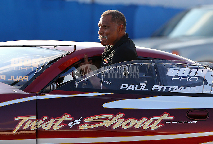 Aug. 30, 2013; Clermont, IN, USA: NHRA pro stock driver Paul Pittman during qualifying for the US Nationals at Lucas Oil Raceway. Mandatory Credit: Mark J. Rebilas-