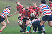 Rob Katu has Andrew Van der Heijden & Dave Duley in support as he charges forward. Air New Zealand Air NZ Cup warm-up rugby game between the Counties Manukau Steelers & Tasman Mako's, played at Growers Stadium Pukekohe on Sunday July 20th 2008..Counties Manukau won the match 30 - 7.